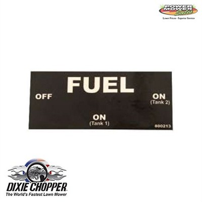 800213 Dixie Chopper Fuel Valve Decal