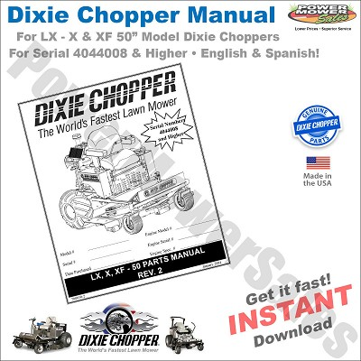 DC-LX50-MAN Dixie Chopper Parts Manual for LX, X, XF-50 - Digital Download
